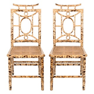 Bamboo Chinoiserie Pagoda Dining Chairs - a Pair