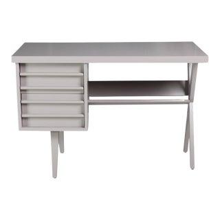 Mid-Century Gray Painted Wood Desk