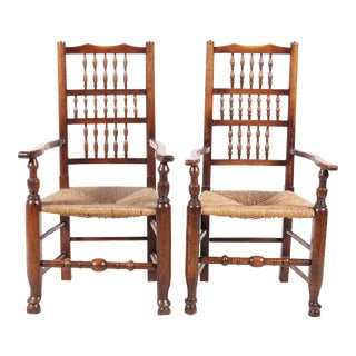 Lancashire-Style Spindle Armchairs - A Pair