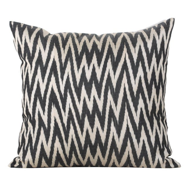 Image of Graphite & White Flame Ikat Pillows - A Pair