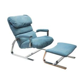 Mid Century Modern Cantilever Chrome Chair & Ottoman