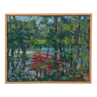 Original Canoes Stacked by the Water Painting