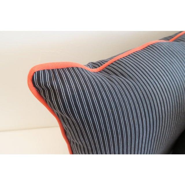 Custom Navy Stripe & Orange Trim Pillows - A Pair - Image 4 of 4