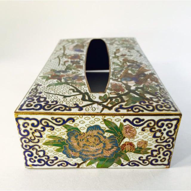 Vintage Cloisonné Enamel & Brass Tissue Holder - Image 3 of 4