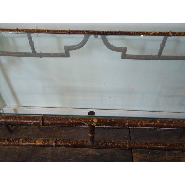 Medium Sized Sleek Faux Bamboo Style Iron Console - Image 4 of 4