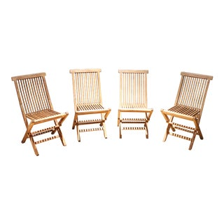 Teak Folding Chairs - Set of 4