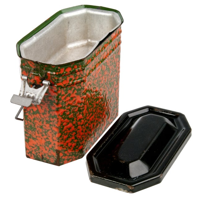 Image of Vintage French Orange & Green Enamel Lunch Pail