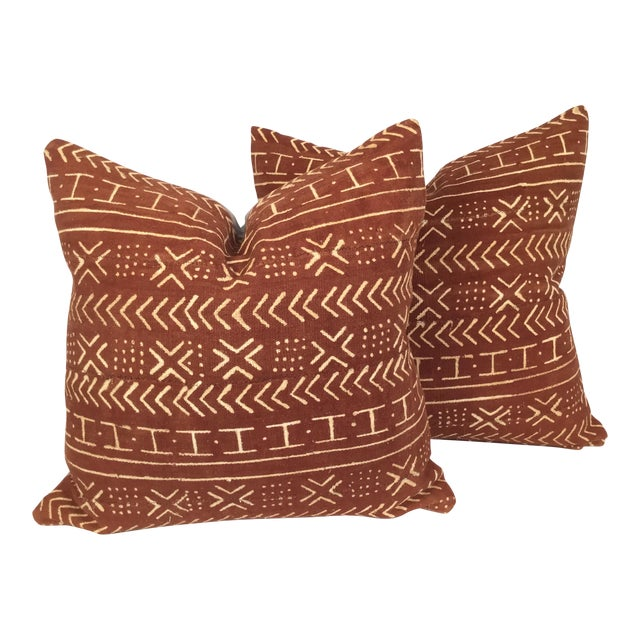 Vintage African Mudcloth Pillows - a Pair - Image 1 of 4
