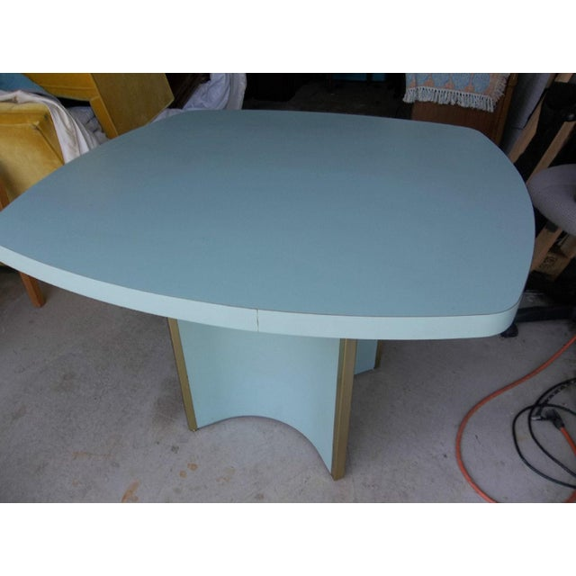 Mid-Century Modern Blue Formica Dining Table - Image 5 of 5