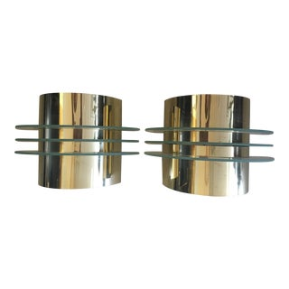 Art Deco Style Brass & Glass Sconces - A Pair