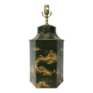 Green Handpainted English Style Tea Caddy Lamp