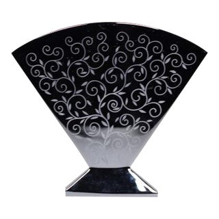Signed Black Etched Baccarat Vase