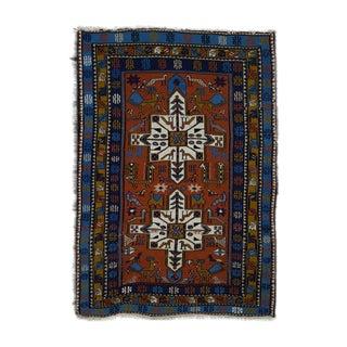 Antique Handmade Turkish Rug W/ Birds Motif - 4x5 Ft