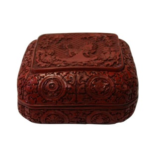 Chinese Red Resin Square Floral Kirin Carving Accent Box
