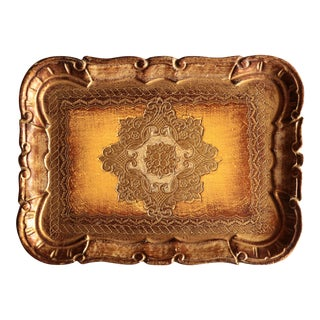 Golden Florentine Wood Tray