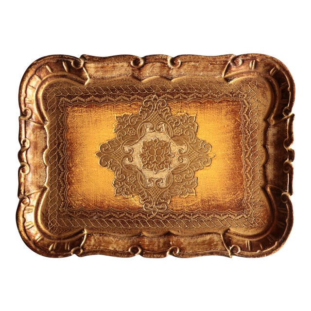 Golden Florentine Wood Tray - Image 1 of 7