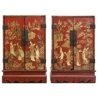 Pair of Edo Period Japanese Red Lacquer Table Cabinets
