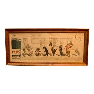 """1950s Vintage Boris O'Klein Signed Original """"Dirty Dogs of Paris"""" Print"""