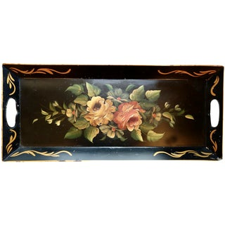 Vintage Rectangular Tole Rose Tray