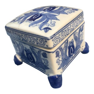 Blue and White Chinoiserie Porcelain Square Box