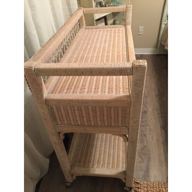 Henry Link Wicker Rolling Console Cart - Image 7 of 10