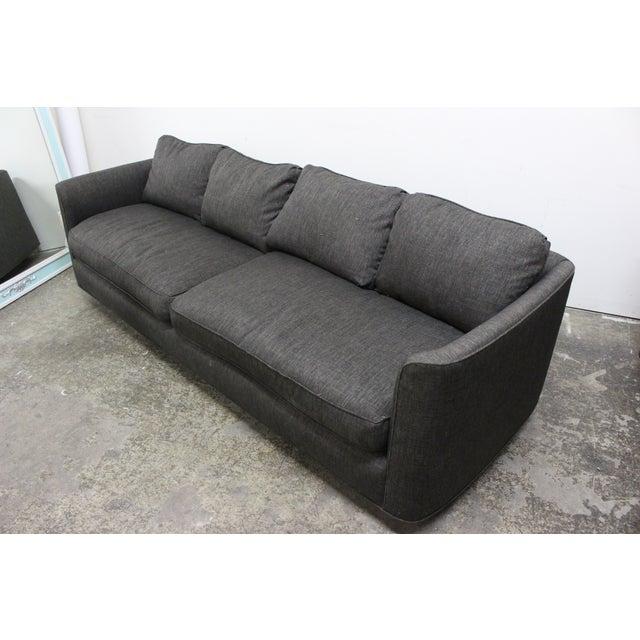 Henredon Curved Arm Charcoal Gray Sofa - Image 6 of 9