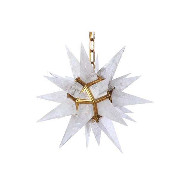 Quartz Star Pendant Light with Antique Brass Frame - Image 4 of 6