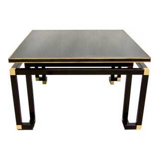 Studio A 1970s Italian Pair of Black Lacquered Wood and Brass Coffee/Sofa Table