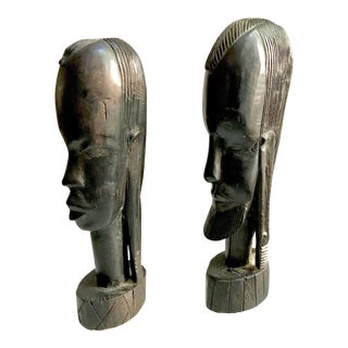 Vintage African Black Wood Sculptures Male and Female Heads - A Pair
