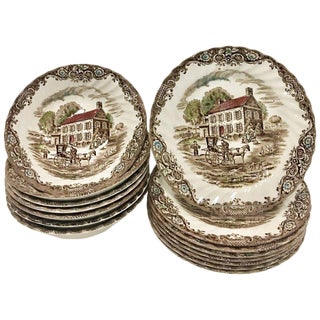 Vintage English Staffordshire Heritage Hall Ironstone China By Johnson Brothers - Set of 15