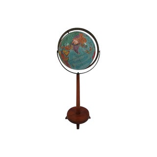 Mid-Century Replogle Globe on Walnut Stand