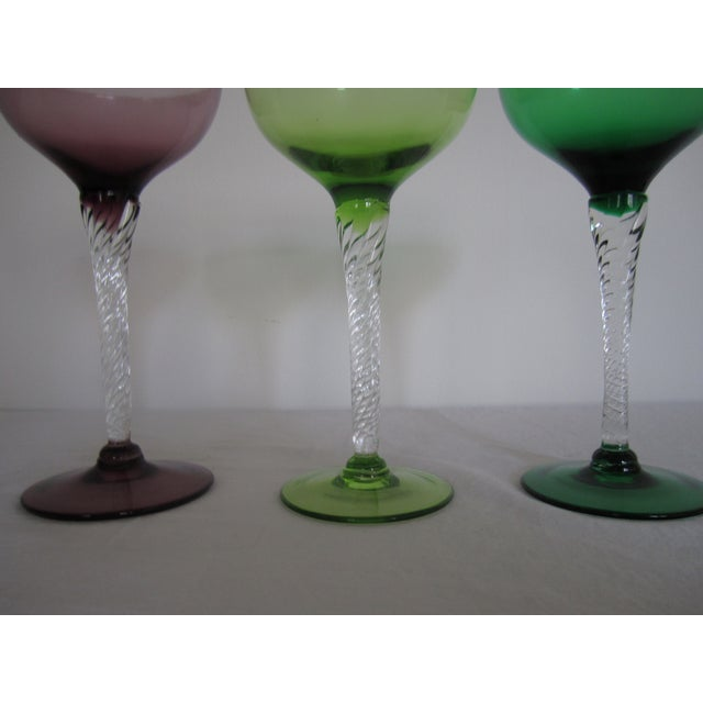 Vintage Blown Glass Champagne Glasses - Set of 3 - Image 3 of 8