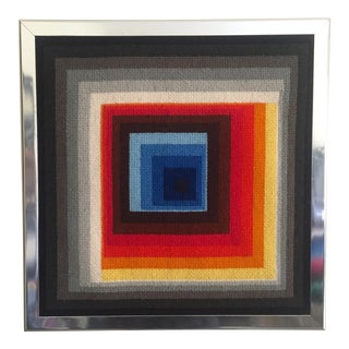 Vintage Op Art Needlepoint Geometric Textile Art