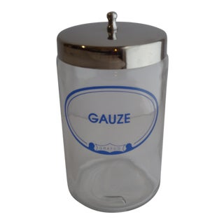 Vintage Grafco Glass Gauze Apothecary Jar Stainless Lid