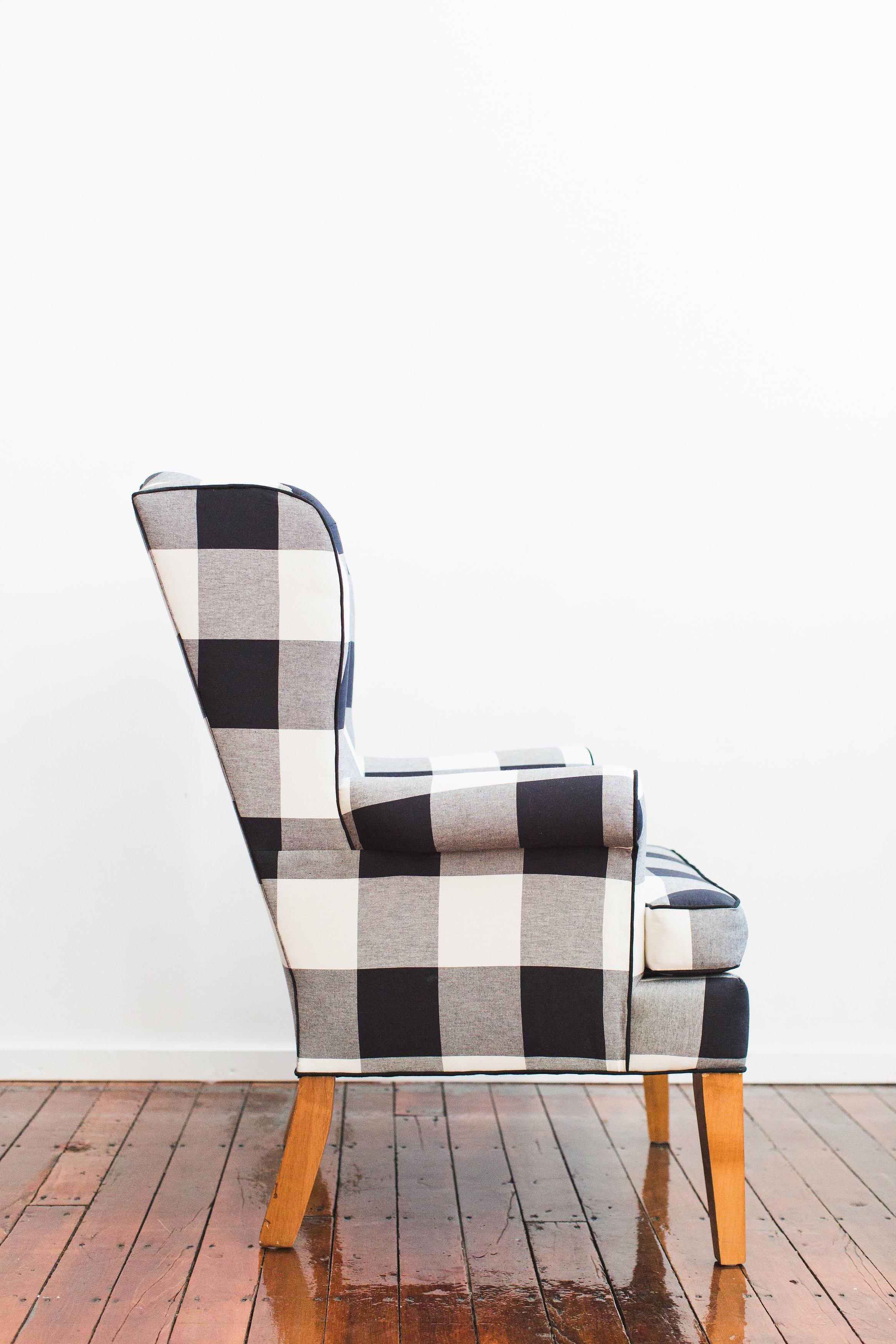 Vintage Mcguire Chairs Black & White Buffalo Check Wingback Chair | Chairish