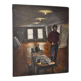 "1970s ""The Artist Studio"" Original Oil Painting by Harry McCormick"