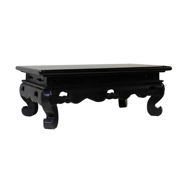Chinese Black Lacquer Rectangular Wood Stand Display - Image 4 of 6