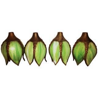 Antique Green Slag Glass Shades - Set of 4