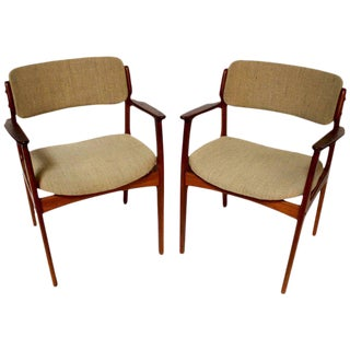 Danish Modern Model Od-49 Teak Armchairs by Erik Buch - A Pair