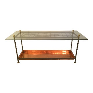 Vintage Repurposed Glass & Copper Coffee Table