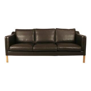 Vintage Danish Brown Leather 3-Seat Sofa
