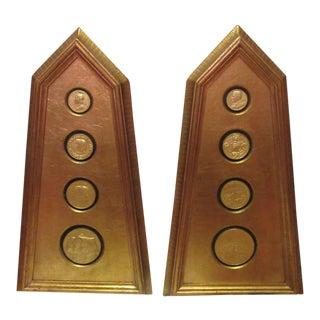 Hollywood Regency Gold Leafed Medallion Obelisks - A Pair