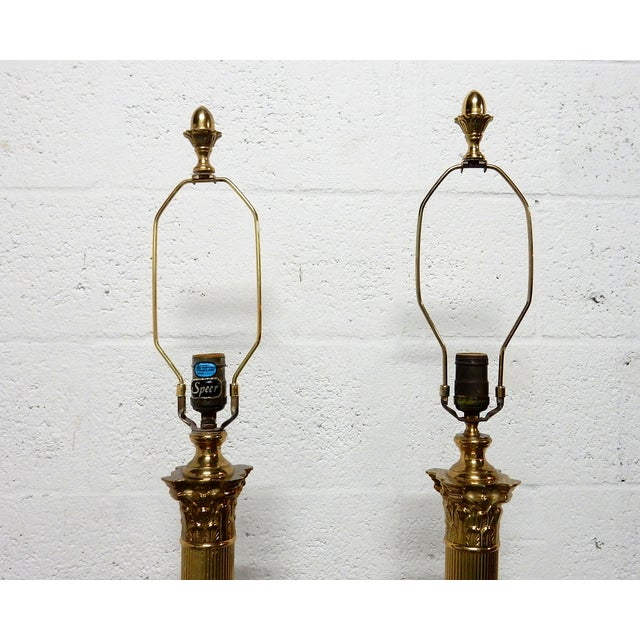Image of Speer Brass Floor Lamps With Harp - A Pair