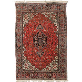 "Hand Knotted Antique Saruk Farhan Rug - 6'10"" X 4'1"""