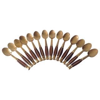 Thai Brass & Wood Demitasse Spoons - Set of 14