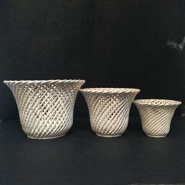 Image of Vintage White Porcelain Planters - Set of 3