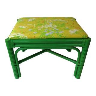 Mid-Century Green Rattan Footstool