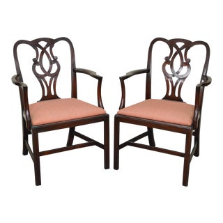 1940s Baker Mahogany Chippendale Style Arm Chairs - A Pair