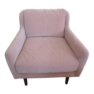 Blush Pink Velvet Armchair, Slope Arm