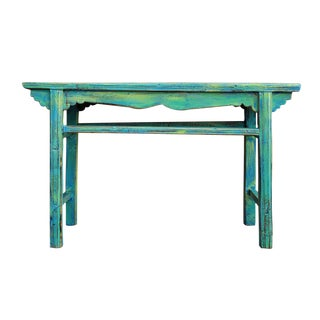 Chinese Rustic Distressed Blue Green Wooden Side Table